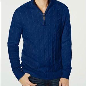 Men's Pima Cable Quarter-Zip Sweater